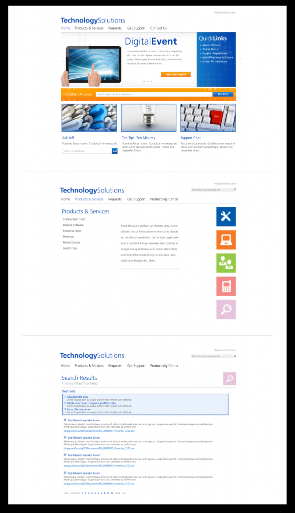 Technology Solutions SharePoint Portal Designs